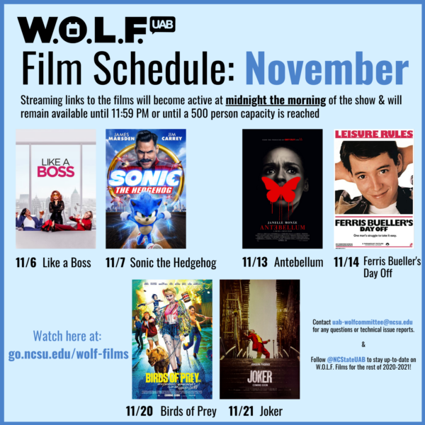 UAB WOLF's Q2 Film Schedule for the Month of Novemeber