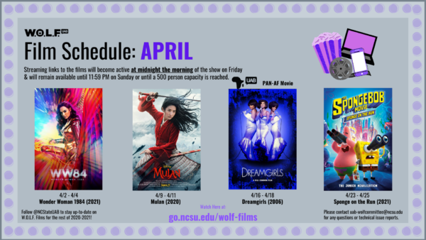 UAB WOLF Committee Films for April